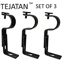 Curtain Rod Brackets - Black (Set of 3 Brackets)(Also known as - Curtain rod Holder / Bracket for Drapery rod / Window Drapery rod bracket set for Draperies / adjustable curtain rod brackets)
