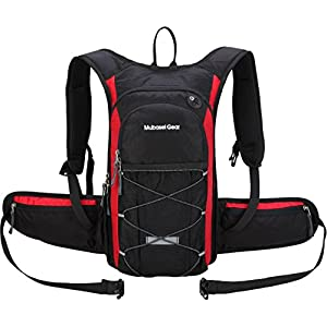 Insulated Hydration Backpack with 2L BPA FREE Bladder - Keeps Liquid Cool up to 5 Hours – Waterproof pack for Running, Hiking, Cycling, Camping (Black/red - With Waist Pack)