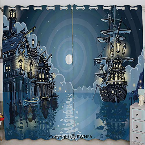 Justin Harve window Fantasy Adventure Island Faery Mystery Ships Pirate Cove Bay Swirled Moon Rays Decorative Bedroom Blackout Curtains Set of 2 Panels(84
