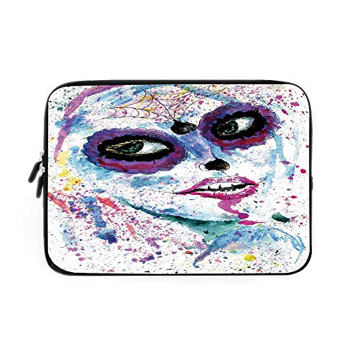 Girls Laptop Sleeve Bag,Neoprene Sleeve Case/Grunge Halloween Lady with Sugar Skull Make Up Creepy Dead Face Gothic Woman Artsy/for Apple MacBook Air Samsung Google Acer HP DELL Lenovo -