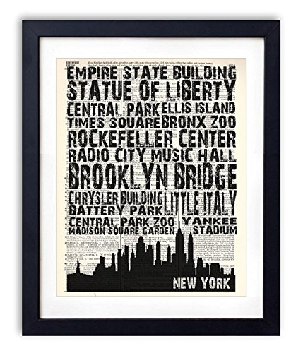 New York Landmarks Skyline and Typography Dictionary Art
