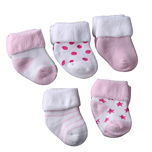 Evelin LEE Kids Unisex Baby Toddler Soft Socks 5 Pairs Crew Walkers Newborn Gift (0-4 months, Style 3-Pink-5PCS) by Evelin LEE (Image #1)