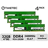 Timetec Hynix 32GB Kit (4x8GB) DDR4 2400MHz PC4-19200 Unbuffered ECC 1.2V CL17 1Rx8 Single Rank 288 Pin UDIMM Server Memory RAM Module Upgrade (32GB Kit (4x8GB))
