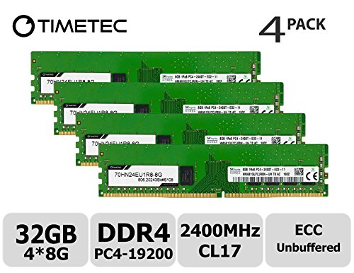 - Timetec Hynix 32GB Kit (4x8GB) DDR4 2400MHz PC4-19200 Unbuffered ECC 1.2V CL17 1Rx8 Single Rank 288 Pin UDIMM Server Memory RAM Module Upgrade (32GB Kit (4x8GB))