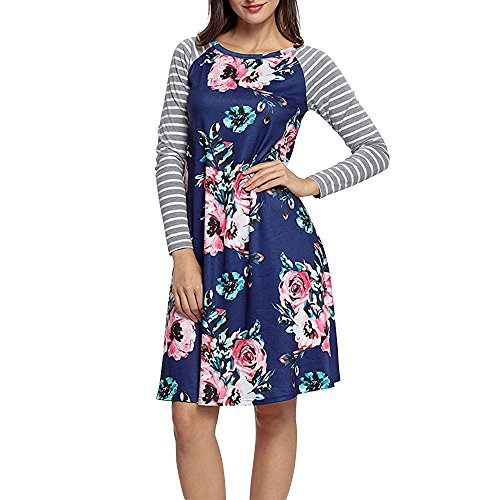 Exlura Women's Floral Print Casual Long Sleeve A-line Loose T-Shirt Dresses Knee Length, Blue, 3XL