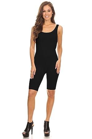 adc7919e17c1 Women Sleeveless Stretch Skinny Solid Knee Length Sport Unitard Bodysuits  Active (2X-Large