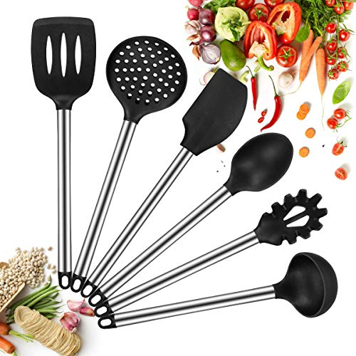 Silicone Kitchen Utensils set, 6 Piece Cooking Utensil Non-Stick Stainless Steel Kitchen Tool Cookware Set BPA free, Spatula, Slotted Turner, Pasta Fork, Skimmer, Spoon, Ladle(6pcs)