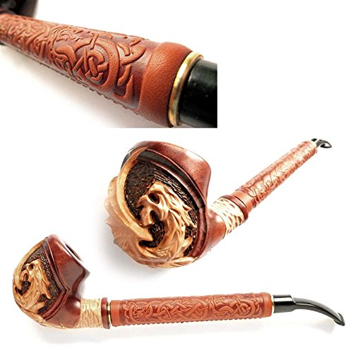 DrWatson-11-Churchwarden-style-Tobacco-Smoking-Pipe-DRAGON-Hand-Carved-Pear-wood-9mm-filter