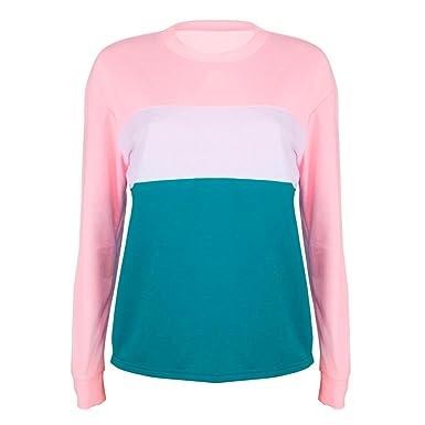 Damen Bluse Langarm Mumuj Neu 2018 Fashion Mädchen Casual O-Ausschnitt Sweatshirt  Frauen Multicolor Patchwork Pullover Shirt Crop Tops Herbst Winter Mäntel   ... 33d1848f7e