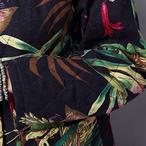 Coat Mujeres Largo Folk Invierno 2018 Gran Estilo Tamaño personalizado De Abrigo Acolchado Larga Capucha En El Vintage Manga Nacional Verde Chaqueta Deelin Étnico Algodón Con F8zgq0w8B
