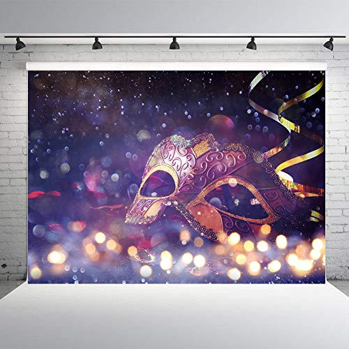 DLERGT 7x5ft Masquerade Party Photography Background Purple Mask Backdrops for Birthday Party Decoration Photo Studio Props 1-0008 -