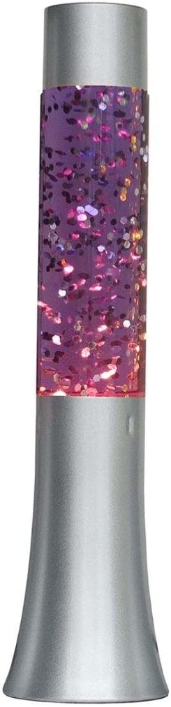"""Lightahead 13"""" Glitter Glow Lamp with Metal Base Motion Sparkle Lamp with Silver Base Purple Water Silver Glitter"""