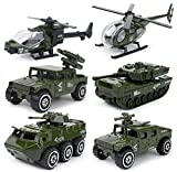 MinYn 6 Pieces Mini Die-cast Military Vehicle Toys Set for Kids - Helicopter, Tank, Armored Car