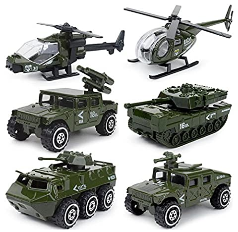 MinYn 6 Pieces Mini Die-cast Military Vehicle Toys Set for Kids - Helicopter, Tank, Armored Car (Military Vehicles 1 18)