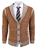 Coofandy Mens Long Sleeve Shawl Collar Knitted Slim Fit Button Cardigan Sweaters,Large,Dark Brown