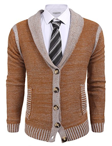 Coofandy Mens Long Sleeve Shawl Collar Knitted Slim Fit Button Cardigan Sweaters,Large,Dark Brown by COOFANDY