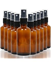 10 Pack Empty Amber Glass Spray Bottles, 4 Ounce Refillable Container for Essential Oils, Cleaning Products, or Aromatherapy