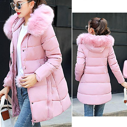 Pink Winter Down Byste Thick Women Jacket Lightweight Hair Collar Long Cotton Faux Fur Warm Slim Hooded Outwear Overcoat Padded gEEUwHq