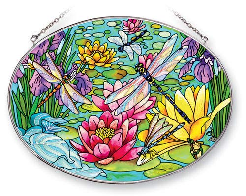 (Stained Glass Suncatcher 9 X 6.5 Oval Water Lilies Dragonflies)