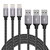 Lightning Cable, TAKAGI 3PACK 6FT iPhone Cable Nylon Braided Lightning Connector to Data Syncing Cord Compatible with and Fast Charging Cable for iPhone 7/7plus/6plus/6s/6s+/5/5s/SE, iPad (Gray)