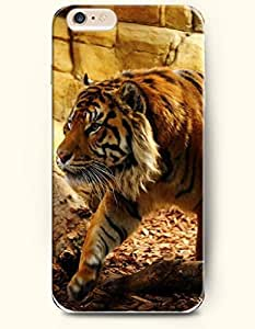 OOFIT Phone Case for iPhone 6 Plus 5.5 Inches with the Design of Tiger Walking in the Cave