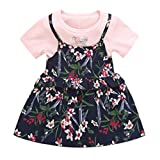 Bohemia Shirt Maxi Dress,Toddler Baby Kids Girls Ruched Ruffles Floral Flowers Princess Dresses Clothes,Girls' Fashion,Red,2-3T