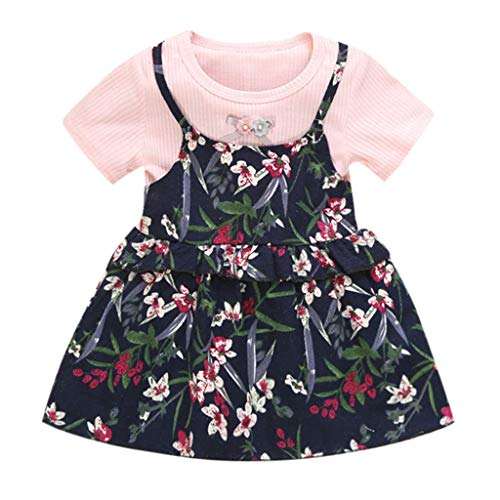AHAYAKU Toddler Baby Kids Girls Ruched Ruffles Floral Flowers Princess Dresses Clothes Pink