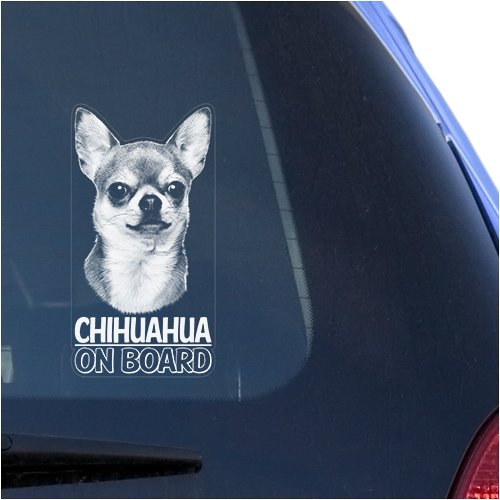 Chihuahua Clear Vinyl Decal Sticker Portrait for Window, Chiwawa Dog Sign Art Print