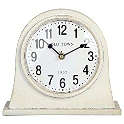 Lily's Home Antique Inspired Farmhouse Desk Or Mantel Clock, Battery Powered, Metal Body, Ivory
