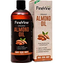 100% Pure Almond Oil - 16oz - For Skin Moisturizer, Wrinkles, Massage, Anti-Aging and Baby Oil - Cold-Pressed, Organic Carrier Oil.