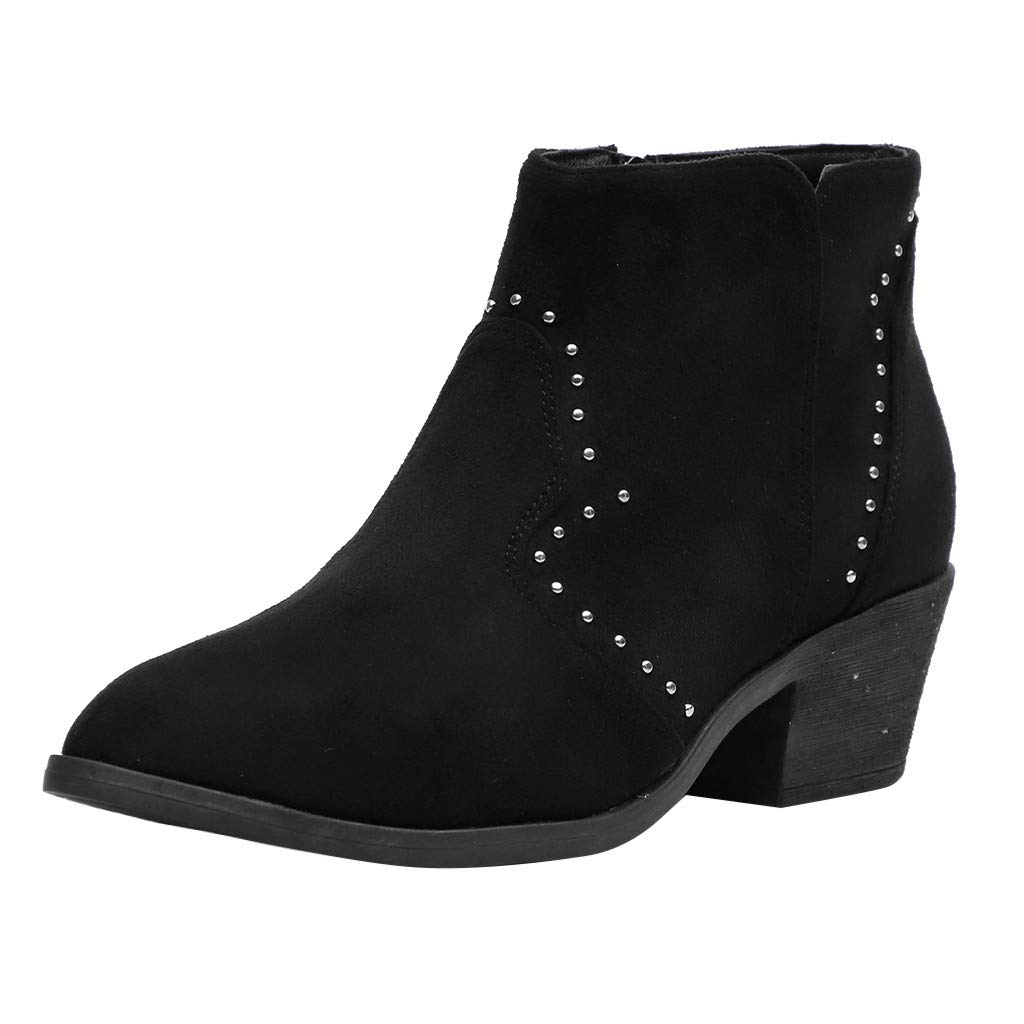 ❤Kauneus❤ Women's Suede Rhinestone Western Ankle Bootie Chunky Low Heel Side Zipper Winter Booties Fashion Boots Black by Kauneus Fashion Shoes