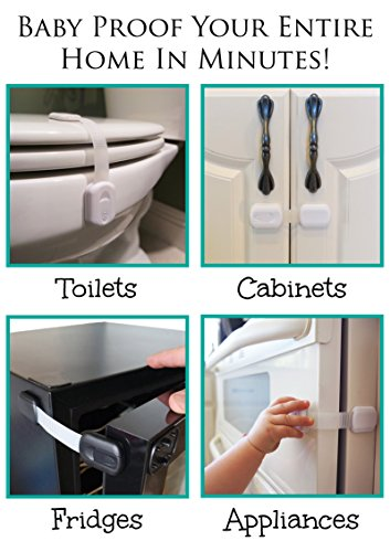 Baby Safety Locks | Child Proof Cabinets, Drawers, Appliances, Toilet Seat, Fridge and Oven | Tools Not Required | Uses 3M Adhesive with Adjustable Strap and Latch System (6-Pack, White)