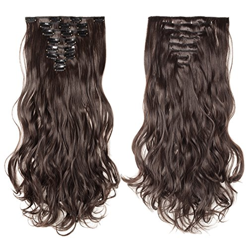 S-noilite 17-26 Inches(43-66cm) 8pcs Long Full Head Clip in Hair Extensions Sexy Lady Fashion Choice 13 Colors (17