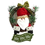 TINKSKY Christmas Wreath for Front Door Hang Garland with Santa Claus Snowman Ornaments Natural Rattan Wreath Holiday Door Hanger Wall Car Decoration 30cm