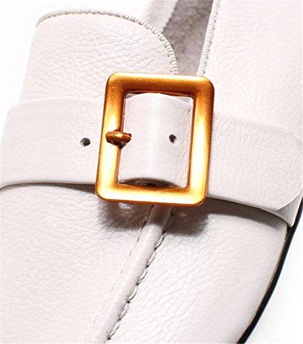 Scarpe 36To39 vera Dimensioni della Retro morbida ufficio mocassini Quadrata Fibbia Suola Punta apricot da cintura pelle donna 4wB4qr