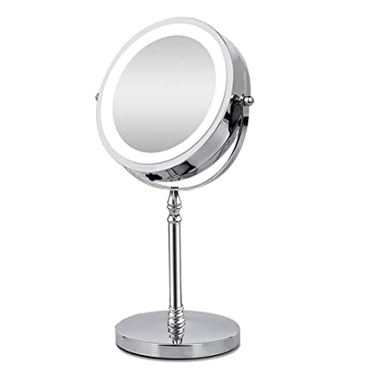 BRIGHTINWD Vanity Mirror With Lights 1X U0026 10X Magnifying Lighted Tabletop  Vanity Mirror With Round LED