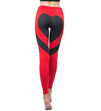 137f8ae2a72428 Yoga Pants Sport Leggings High Waist Leggings Exercise Workout Heart  Patchwork Athletic Flexible Elastic Compression Striped