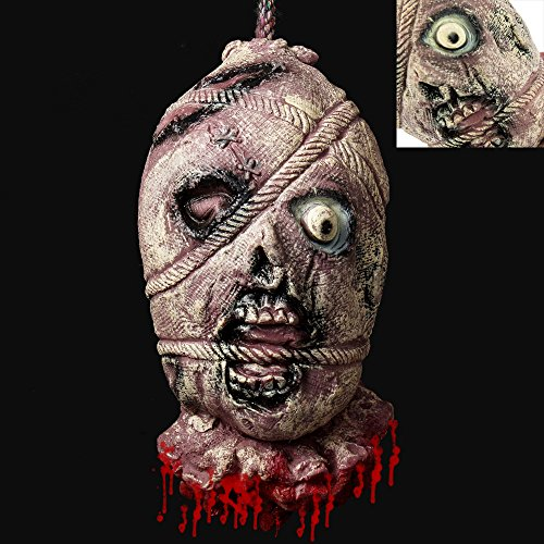 Cherry Juilt Severed Head Halloween Decorations Cut off Corpse Head Hanging Props Bloody Gory Latex Zombie Decoration -