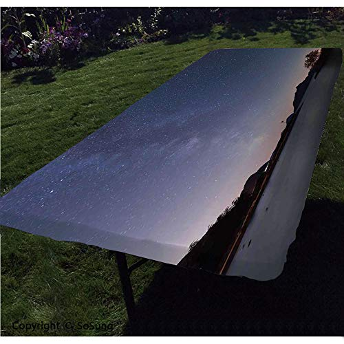Space Polyester Fitted Tablecloth,Starry Night on an Island Picture Milky Way Galaxy Theme Night Sky Moon and Stars Print Rectangular Elastic Edge Fitted Table Cover,Fits Rectangular Tables 60x30
