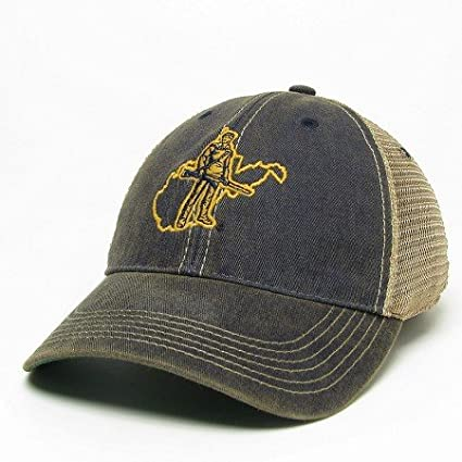 f65e49bb76a Amazon.com   West Virginia Mountaineers Trucker Style Hat Cap with  Mountaineer Logo and State background   Sports   Outdoors