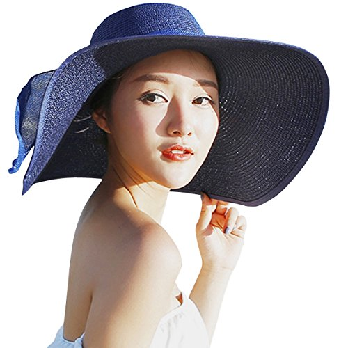 JOYEBUY Women Lady Big Bowknot Straw Hat Floppy Foldable Roll up UV Protection Beach Cap Sun Hat (Navy Blue) (Navy Sun Hat)