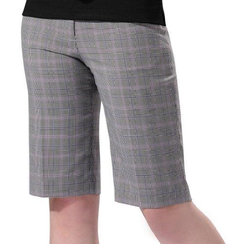 Monterey Club Ladies' Stretchable Plaid Bermuda Shorts #2862(Ivory/Grey Lilac,Size:16)