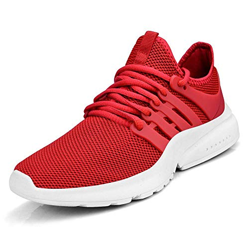 (MARSVOVO Women Sneakers Casual Tennis Gym Running Breathable Sport Shoes Red White)