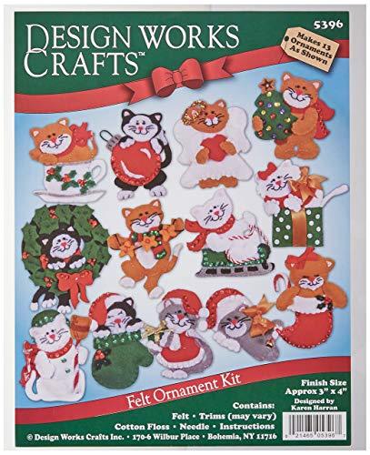 Tobin DW5396 Lots of Kittens Ornaments Felt Applique Kit, 3 by 4-Inch, Set of 13