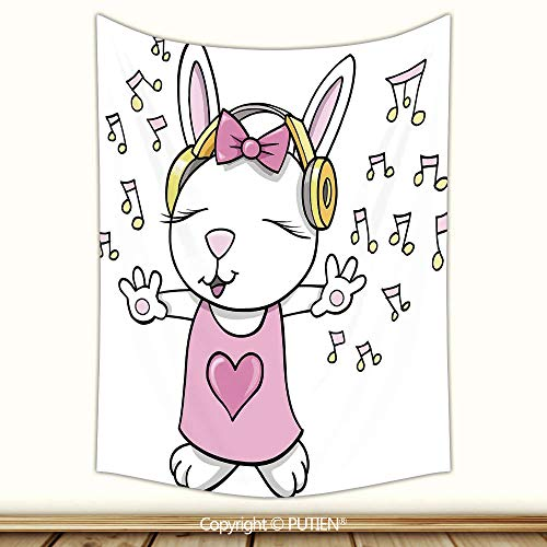 Stylish Tapestry Wall Hanging [ Kids,Cute Rock Star Rabbit Bunny with Speakers Music Notes Girls Humor Heart Cartoon,Baby Pink Yellow ] Fabric Wall Hanging Decor for Bedroom Living Room Dorm, ()