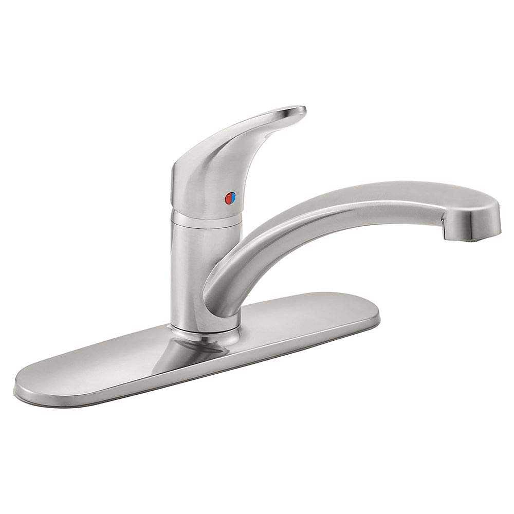 American Standard 7074000.075 Colony Pro Single-Handle Kitchen Faucet with Deckplate in Stainless Steel,