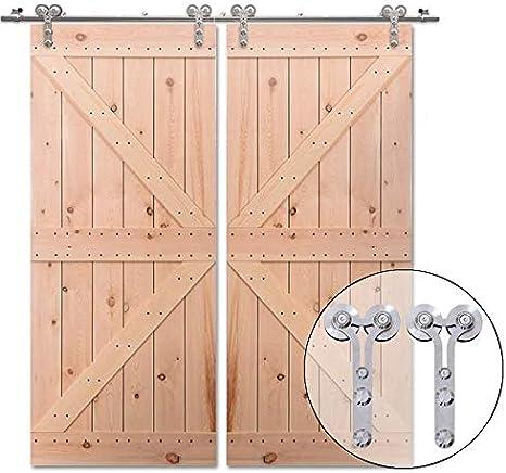 426cm/14FT kit de puerta corredera de acero inoxidable,Herrajes para puertas corredizas de acero inoxidable para puertas de vidrio/madera