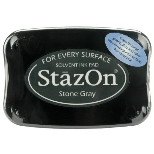 Gray Ink Stazon - Tsukineko Full-Size StazOn Multi-Surface Inkpad, Stone Gray (SZ000032)