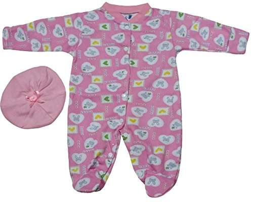 TenTeeTo Baby Girl Bodysuit Footies and Hat Clothes for Newborn or Infant Pink (0-3 Months, Pink/Bear/Bunny) - Add On Items Ropa