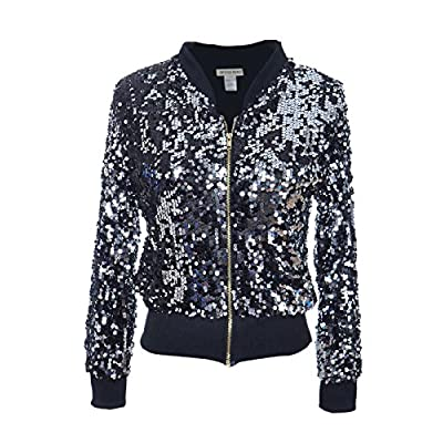 ANNA-KACI Womens Sequin Long Sleeve Front Zip Jacket with Ribbed Cuffs: Clothing